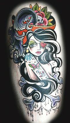 Tattooed pirate pinup by Dawnii Fantana