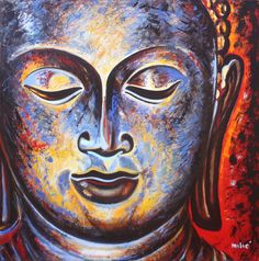 "BUDDHA 38x38"" oil on canvas by dragoslav milic-for sale: 3000 us dollars"