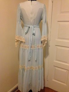 Vintage 70's Light Blue Dress with floral lace by PSYCHEDvintage, $83.00