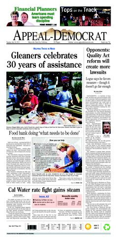 Appeal-Democrat front page for Tuesday, July 30, 2013.