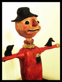 Halloween Scarecrow sculpture by crackedbrainlight on Etsy, $28.00