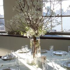 Tree Branch Centerpieces - way inexpensive vs. flowers, could also do larger standing tree branches in barrels/vases as aisle markers, decorations, etc.