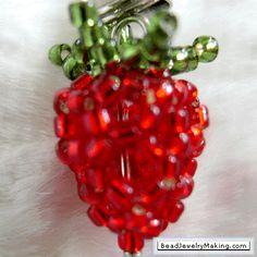 strawberri charm, bead strawberri