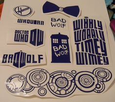Dr. Who Bundle Decals, Dr. Who and Tardis, bad wolf, bowties are cool, whovians, great for laptops, cars, notebooks, gifts, etc. on Etsy, $6.00