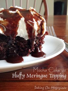 Mocha Cake with Fully Meringue Topping via Taking On Magazines