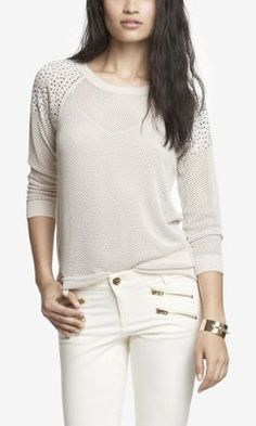 Super fun...love this in the attention-getting black. :) RHINESTUD EMBELLISHED OPEN MESH SWEATER from EXPRESS