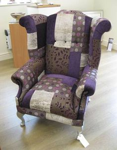 Upcycled chair - purple scraps