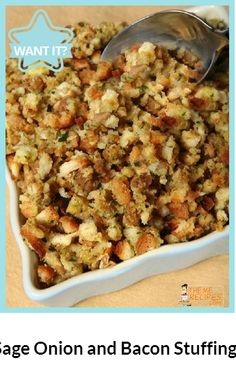 Sage Onion and Bacon Stuffing...Cook the onion and bacon in the oil in ...