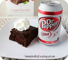 {Low Fat} Diet Dr. Pepper Brownies!!! Yummy-Healthy-Easy :)  1 box brownie mix, 10 oz. diet soda, 2 egg whites.  That's it.