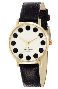 black dot, fashion, polka dot, style, accessori, metro, watch, dots, kate spade