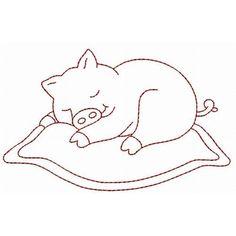 Sleeping Critters Redwork