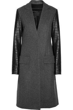 Alexander Wang leather-sleeved coat