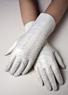 1950s White Leather Gloves with Pinhole Design by UpStagedVintage, £12.00