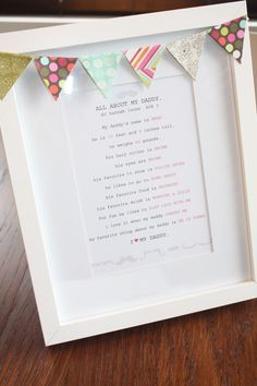father's day questionnaire {LOVE] this will make such an awesome fathers day gift birthday, frame, mothers day, daffodil, father day, gift ideas, fathers day gifts, banners, kid