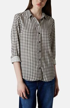 Spencer looking fab in gingham.  Topshop Gingham Print Shirt available at #Nordstrom | Pretty Little Liars