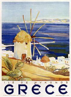 Vintage travel poster of Mykonos island Greece 1940's #kitsakis