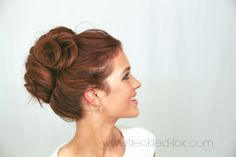 The Freckled Fox | High Curly Bun #updo #hairtutorial #longhairstyles