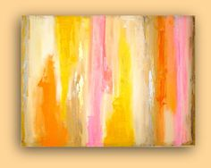 Abstract Acrylic Painting Original Art Textured Yellow Fine Art on Gallery Canvas Titled: SUMMER DAYS.   Abstract Painting.  36x48X1.5