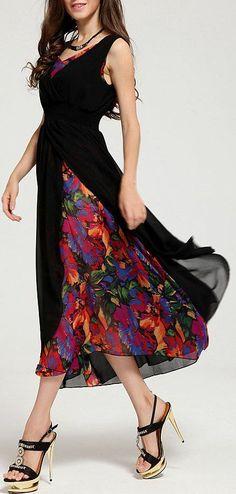 Black V Neck Sleeveless Floral Chiffon Dress