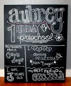 sign for first day of school pinterest | Here is my big girl with her sign…Happy First Day of Preschool ...