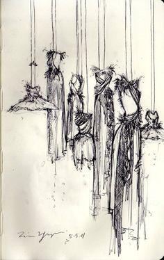 tnguyendesigns:      Rodarte Exhibit: States of Matter  This is my sketch of the '08 Fall Collection from a distance.