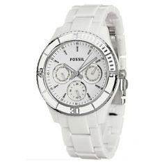 Fossil Women's ES2540 White Resin Bracelet White Analog Dial Multifunction Watch $50.23