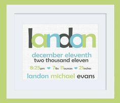 Custom Baby Name & Stats Typography Nursery Print: 8x10 Poster in Charcoal Gray, Lime Green, Aqua Blue- like the colors