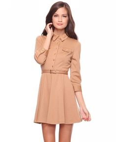 Camel knit dress $24.80 fall style, cloth, rich girlfashion, flare dress, dresses, girlfashion lust, dress 2480, fall wardrob