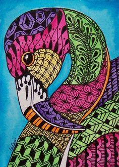ACEO LE Print Flamingo Doodle Zoo Bird Animal Tropical Zentangle Painting LaRusc