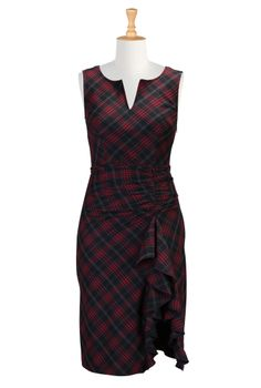 Ruffled Plaid Dresses, Twill Check Dresses Women's fashion dress designs - Shirtdresses: All Women's Dresses at eShakti - | eShakti.com