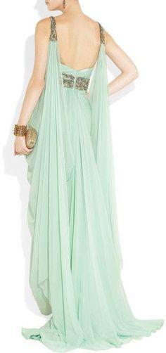 Marchesa ~ Green Crystal-embellished Silk-chiffon Gown