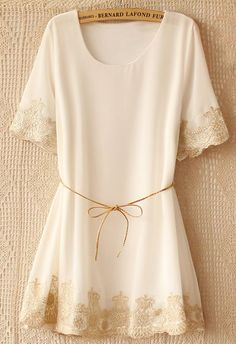 White Short Sleeve Lace Embroidery Belt Dress