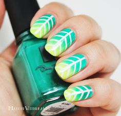 Tropical Taped teal and Neon green Gradient Leaves summer nails