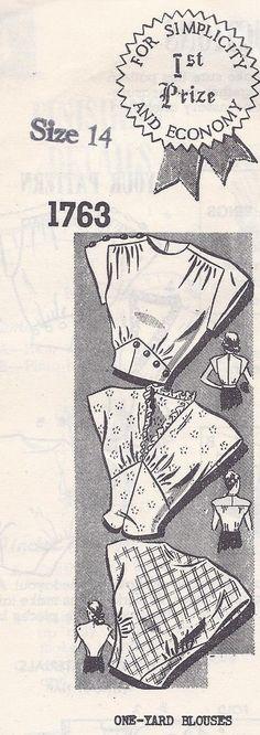 Vintage Sewing Pattern Women's One Yard Blouse