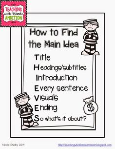 FREEBIE poster using the THIEVES acronym for finding Main Idea!