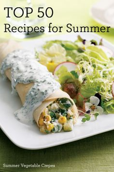 Top 50 Recipes for Summer including these Summer Vegetable Crepes