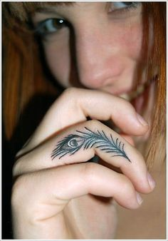 Such a cute, little tattoo. #InkedMagazine #feather #tattoo #tattoos #inked #ink #finger