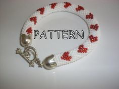 PATTERN Beaded bracelet - Beaded Crochet Bracelet -love - bracelet -heart - | Nazo design