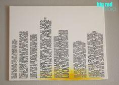 DIY canvas with vinyl letter lyrics
