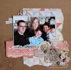Beautiful scrapbook page by Claire Daly  http://clairedaly.typepad.com/sisterhood_of_the_travell/2013/02/stampin-up-scrapbooking-with-tea-for-two-dsp-and-artisan-embellishment-pack.html
