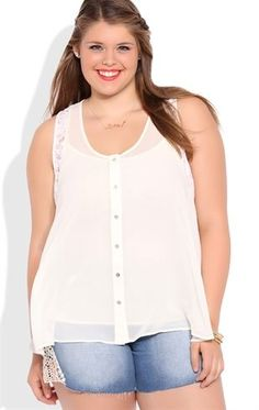 Deb Shops Plus Size High Low Tank Top with Lace Details and Button Front