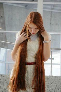 very long red hair::