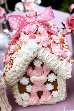 Pink gingerbread house. Christmas