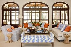 Great color and pattern combo. Family room.
