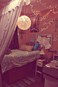 Spice up your dorm room! Add lights, curtains, pictures and more!