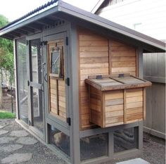 Tongue and groove cedar chicken coop. About $400. Attached run. DIY.