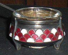 Russian Enameled Open Salt Cellar with Spoon.