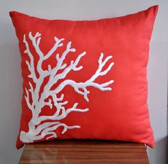 Deep Orange linen fabric with white Nautical coral embroidery