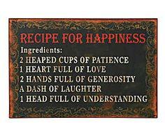 Cartel en metal Recipe for happiness