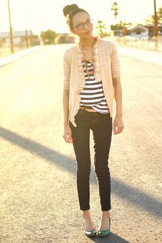 love the stripes and cardi